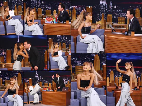 """'''""""08.09.16''' ─ Ariana G. était l'invitée du jour de la célèbre émission de talk-show de Jimmy Fallon, à  New-York. Son passage a été marqué par le live de Jason's Song (Gave It Away), disponible seulement sur quelques éditions collector de Dangerous Woman ![/alig fen]"""