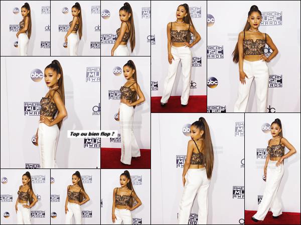 """''''""""20.11.16''' ─ Miss Ariana a pris la pose sur le red carpet des American Music Awards 2016 à  Los Angeles CA. Après avoir été élue artiste de l'année et une fois son prix reçu, Ari Grande a chanté le titre Side To Side en compagnie de Nicki Minaj lors du show ![/alig fen]"""