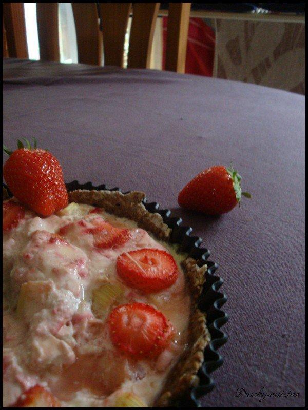 Tarte rhubarbe fraise