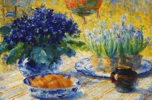 Frans Mortelmans , peintre belge  (1865-1936)   :   jacinthes (1865)