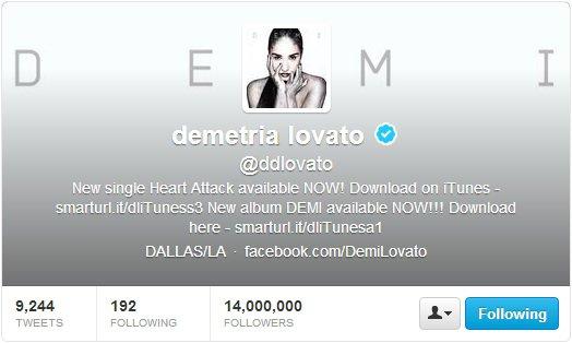 Demi plus de 14 millions  followers