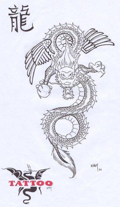 Un Dragon Japonais Vieux Motif Que J Ai Dessiner Et Qui A Eter
