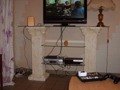 mon nouveau meuble tv on va cacher les fils sinon c moche mes passions creatives. Black Bedroom Furniture Sets. Home Design Ideas