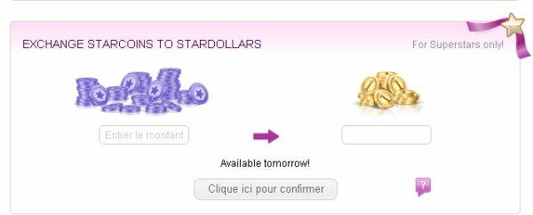 Echange tes starcoins contre des Stardollars dès demain !