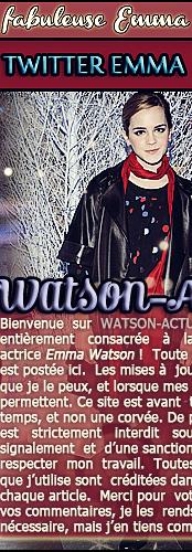 . . W A T S O N - A C T U . Votre source quotidienne sur la parfaite Emma Watson ! . ᘛ Bienvenue sur Watson-Actu. Ta source qui te fera d�couvrir le quotidien d' Emma Watsoη ᘚ � ✿ Watson-Actu, it's your french source about Emma Watson on Skyrock.com ! � All Rights Reserved. CopyRight. ✿ � . . Votre source quotidienne sur la parfaite Emma Watson ! W A T S O N - A C T U . .