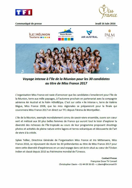 Election Miss France 2017 - Voyage � la Reunion