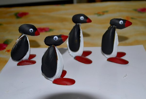 Mes ptits pingoins fabriqu s uniquement avec des coquilles - Bricolage avec des coquillages ...