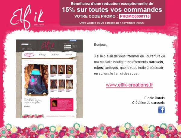 promo ouverture boutique elf'ik créations