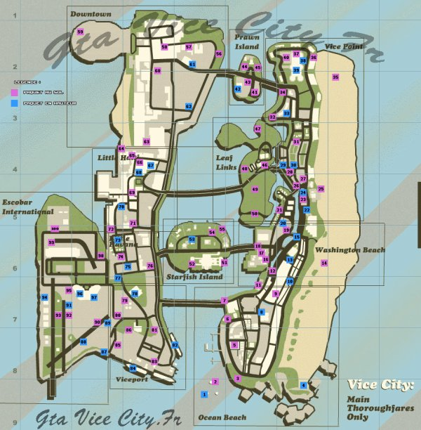 les 100 paquets cachés de GTA Vice City