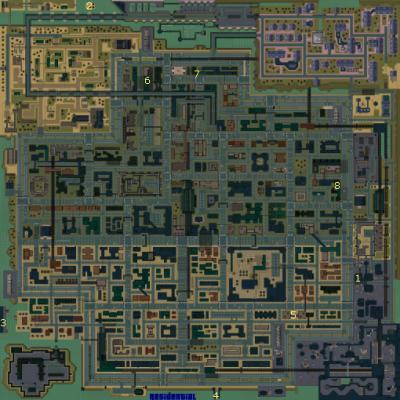 Carte des v�hicules secrets (cach�s et num�rot�s) de GTA 2