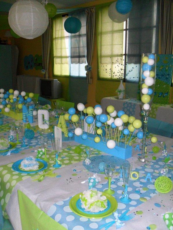 d coration bapt me pois blanc anis turquoise la d co de marie. Black Bedroom Furniture Sets. Home Design Ideas
