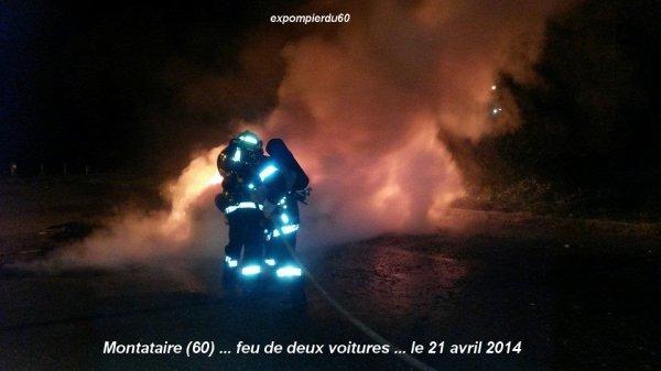 MONTATAIRE (60) ... FEU DE VOITURES  ... LE 21 AVRIL 2014