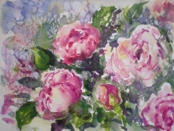 dam domido aquarelle de fleurs quelques roses la peinture le dessin mes passions mon. Black Bedroom Furniture Sets. Home Design Ideas