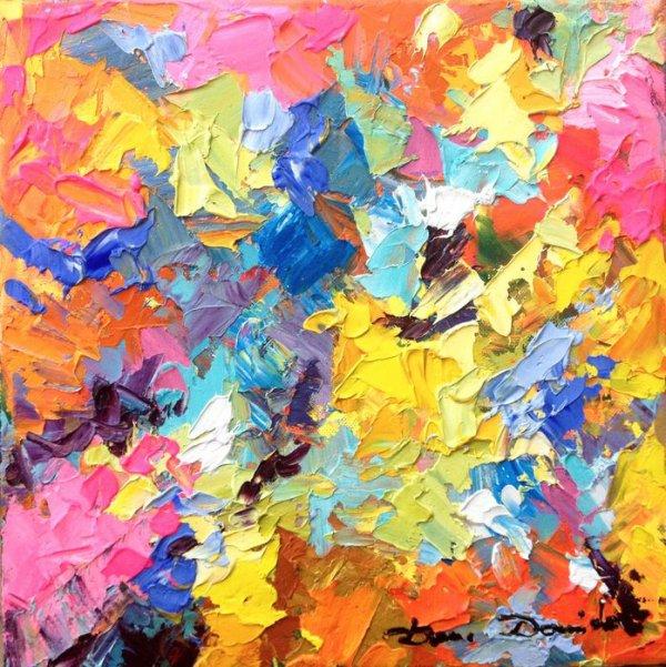 Cristal roc, peinture � l'huile abstraite Dam Domido