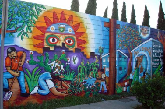 Peace and dignity by mictlan murals el ombligo de la for Blood in blood out mural location