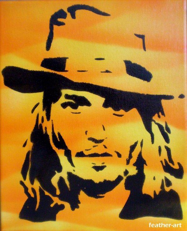 tags vWicuTLed johnny depp tableau toile peinture bombe feather art