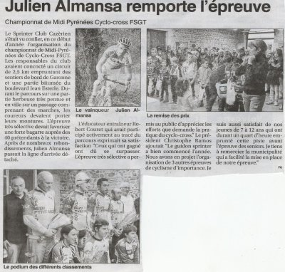 Le Petit Journal.L'hebdo Local du Comminges.Julien Almansa remporte l'�preuve.Championnat Midi-Pyr�n�es de Cyclo-Cross FSGT