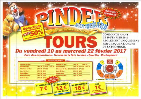 PINDER A TOURS  Du 10 FEVRIER au 22 FEVRIER 2017