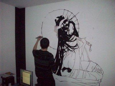 Dessin sur mur taka for life for Dessin geometrique sur mur