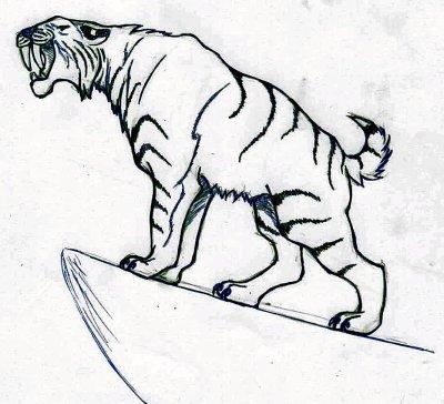 Smilodon tigre a dents de sabre dessins a gogo - Dessin de sabre ...