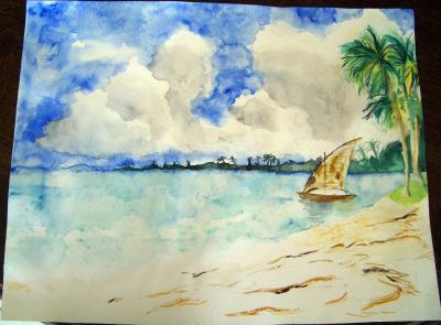 Paysage aquarelle des dessins - Paysage peinture facile ...