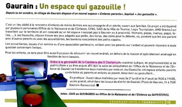 2015-GAURAIN - LE JEU GAZOUILLE GRÂCE A LA CONFRERIE DES 5 CLOCHERS