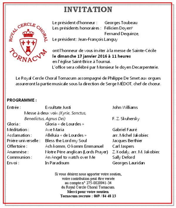 2016-01-17-TOURNAI - LE ROYAL CERCLE CHORAL TORNACUM VOUS INVITE