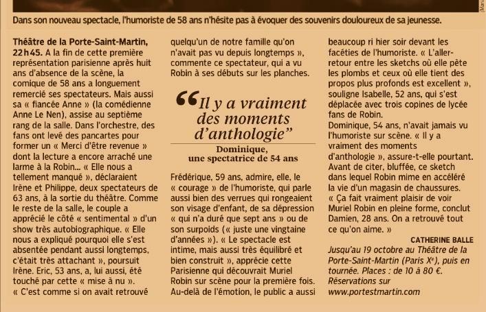 """ROBIN REVIENT"" : Th��tre de la Porte Saint-Martin [Septembre/Octobre 2013] + R�cits de spectacle."