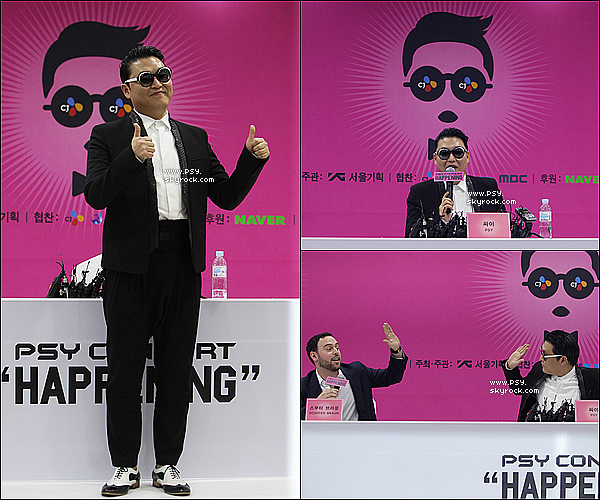 "Press Conference + performs  'Gentleman' in  ""Happening"" at Olympic Stadium. - le 13 avril 2013."