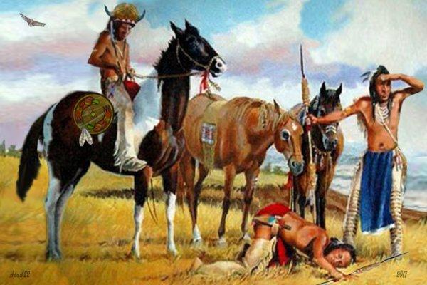 Indiens des grandes plaines  a la recherche du bisons