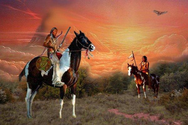 les indiens se salut sous  le ciel  de Novembre