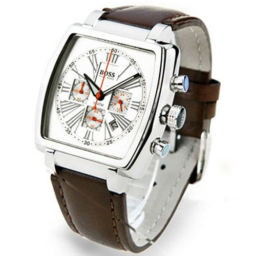 montre hugo boss homme 1512065 quartz analogique chronographe bracelet en cuir en promo. Black Bedroom Furniture Sets. Home Design Ideas