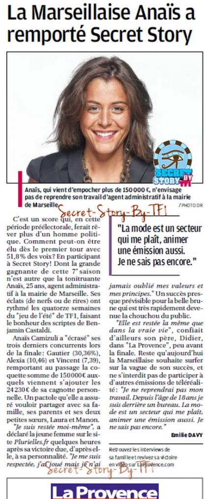 """La Provence : """"La marseillaise a remporté Secret Story"""""""