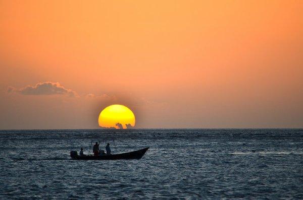 Coucher de soleil de la plage des anses d'arlets.