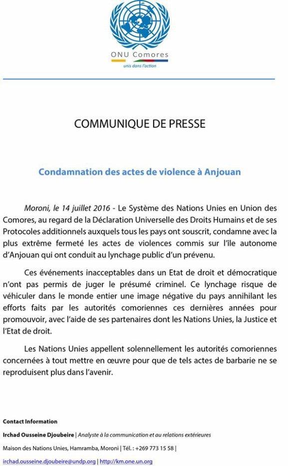 L'ONU condamne les actes de violence perpétrés le 12 juillet à Anjouan