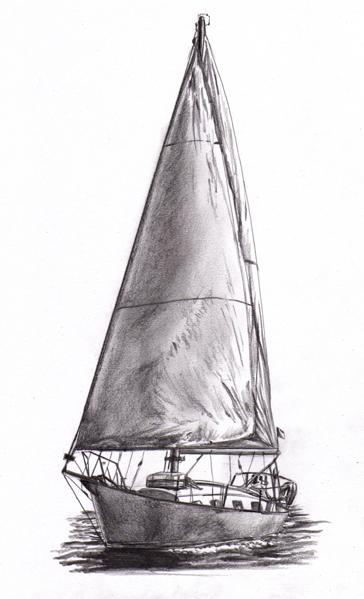 Voilier vue de trois quarts mad drawings dessin et illustration - Dessins de voiliers ...
