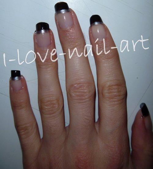 Nail Art Argent Nail Art Noir Avec Trait