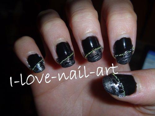 Nail Art Argent Nail Art Noir et Argenté