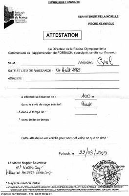 modele attestation 50m natation - Document Online