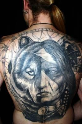 tatoo loup et indien visage tatouages tatoo le plus gros skyblog de. Black Bedroom Furniture Sets. Home Design Ideas