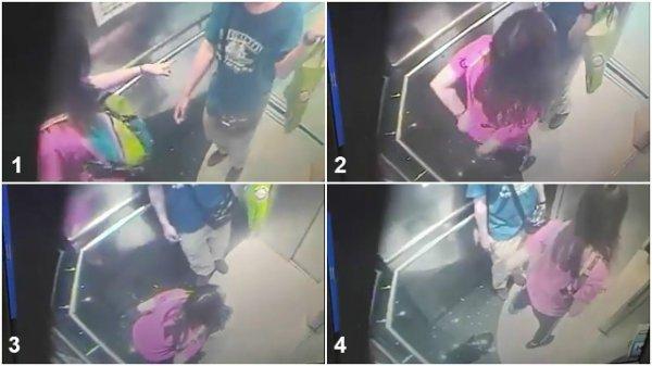 VIDEO - Prise d'une envie pressante, elle urine dans l'ascenseur !