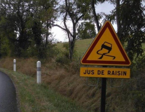 """Des panneaux """"Attention ! Jus de raisin"""" sur les routes !"""