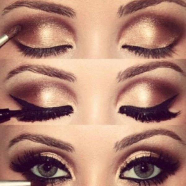 Maquillage yeux marron en amande