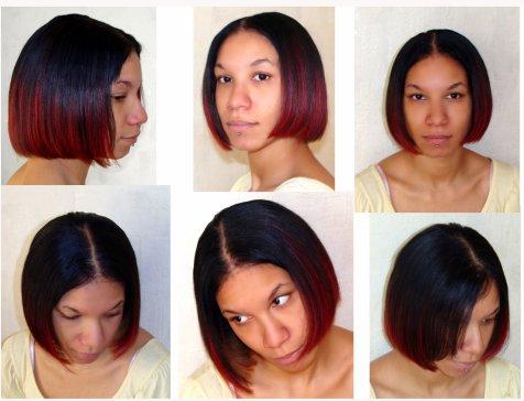 Coiffure afro davon972 tissage am ricain rouge et noir coupe carr coiffure afro - Coupe carre plongeant tissage ...
