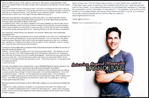 "Brian Dietzen : ""Regard Magazine"" Photoshoot + Interview - Octobre 2012"