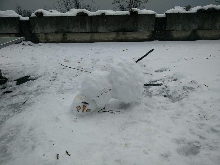 un bonhomme de neige dans la cours de notre immeuble