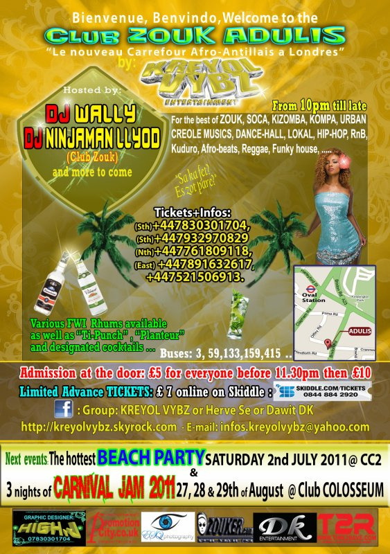CLUB ZOUK Adulis will be back SATURDAY 11th JUNE 2011, 200% of HOT VIBES