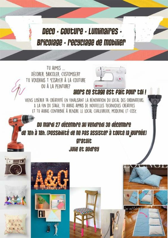 Stage Déco - Couture - Bricolage - Luminaire - Recyclage mobilier Cjc Rochefort