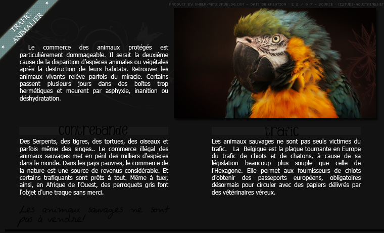 • Le trafic animalier