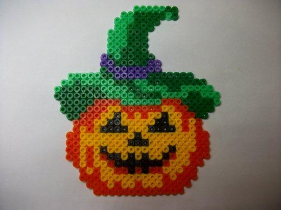 Perle hama citrouille 2 pour mon arbre d' Halloween - Blog de mes-petites-creations-13